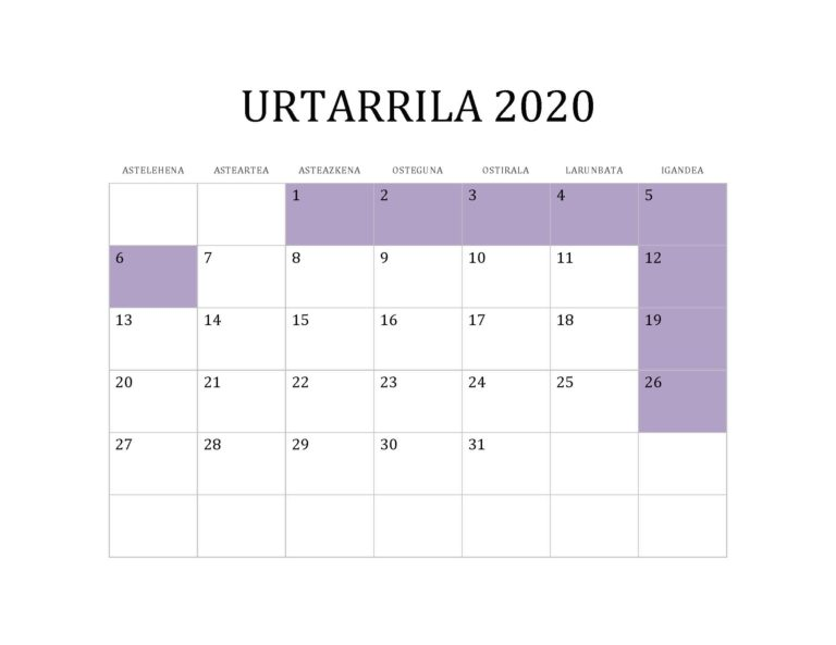 URTARRILA 2020